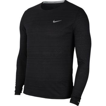 Nike DRI-FIT MILER LONG-SLEEVE RUNNING TOP, muška majica dug rukav za trčanje, crna