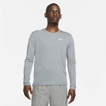 Nike DRI-FIT MILER LONG-SLEEVE RUNNING TOP, muška majica dug rukav za trčanje, siva