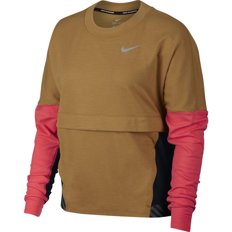Nike W NK THRMA SPHR TOP SD, ženska majica dug rukav za trčanje, braon