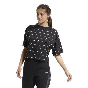 Reebok TE AOP VECTOR TEE, ženska majica za fitnes, crna