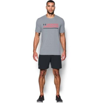 Under Armour Ua Wordmark Lock Up Ss, muška majica za fitnes, siva