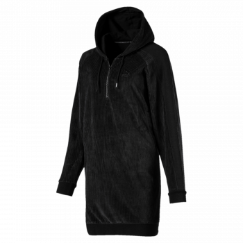 Puma PUMA DOWNTOWN HOODED DRESS, ženska haljina, crna