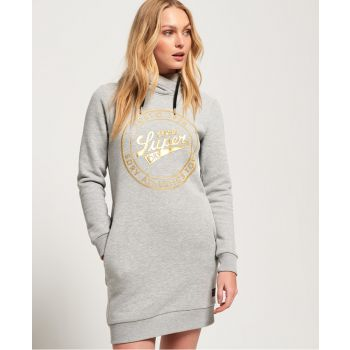 Superdry ACE HOODED SWEAT DRESS, ženska haljina, siva