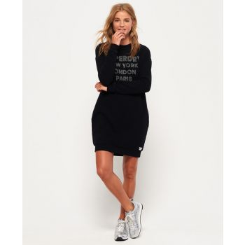 Superdry EMBELLISHED SWEAT DRESS, ženska haljina, crna
