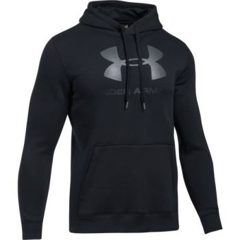 Under Armour Rival Fitted Graphic Hoodie, muški duks za fitnes, crna