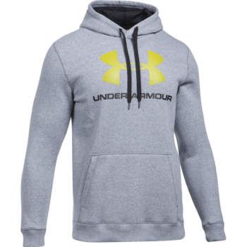 Under Armour Rival Fitted Graphic Hoodie, muški duks za fitnes, siva