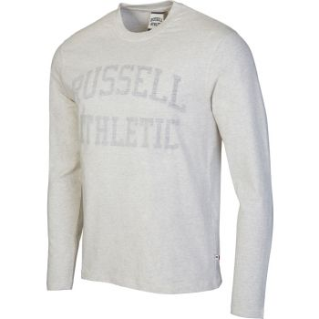 Russell Athletic L/S CREW NECK TEE WITH REVERSE PRINT, muška majica dug rukav, bež