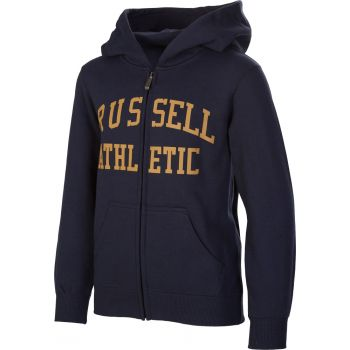 Russell Athletic ZIP THROUGH LOGO HOODY, dečji duks, plava