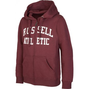 Russell Athletic ZIP THROUGH LOGO HOODY, dečji duks, crvena